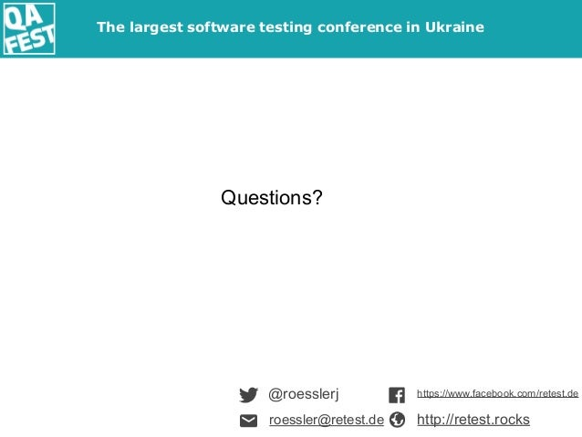 @roesslerj Questions? https://www.facebook.com/retest.de http://retest.rocksroessler@retest.de The largest software testin...