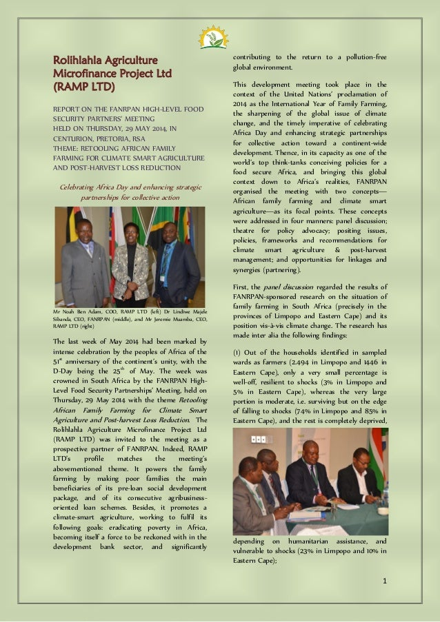 1 Rolihlahla Agriculture Microfinance Project Ltd (RAMP LTD) REPORT ON THE FANRPAN HIGH-LEVEL FOOD SECURITY PARTNERS' MEET...