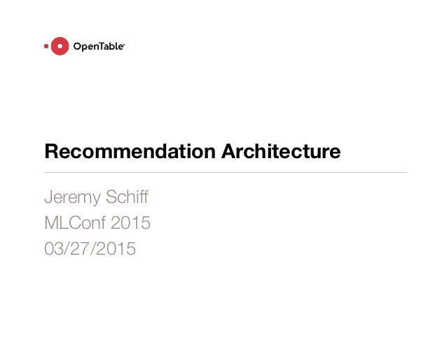 Recommendation Architecture Jeremy Schiff MLConf 2015 03/27/2015
