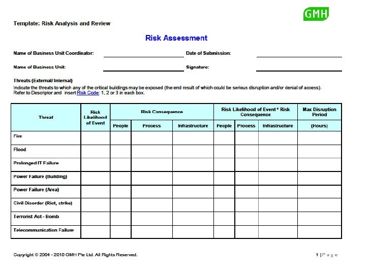 Bcp Risk Assessment Template