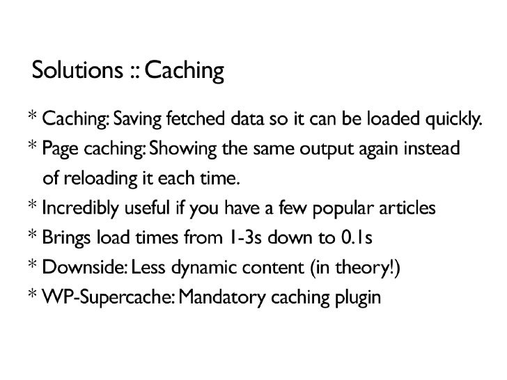 Caching and Optimization for WordPress slideshare - 웹