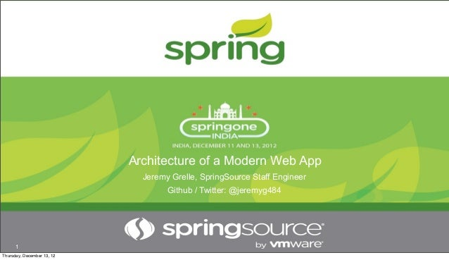 Architecture of a Modern Web App                              Jeremy Grelle, SpringSource Staff Engineer                  ...