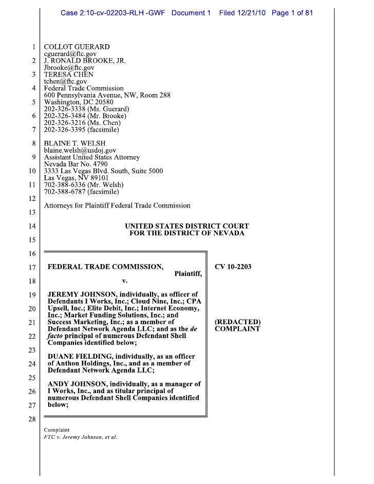 Jeremy Johnson FTC Charges Dec 21, 2010