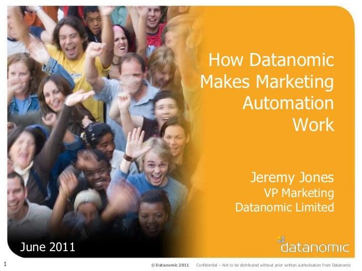 How DatanomicMakes MarketingAutomationWork<br />Jeremy JonesVP MarketingDatanomic Limited<br />June 2011<br />