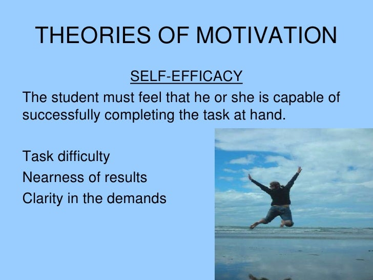 SELF-EFFICACY<br />The student must feel that he or she is capable of successfully completing the task at hand.<br />Task ...