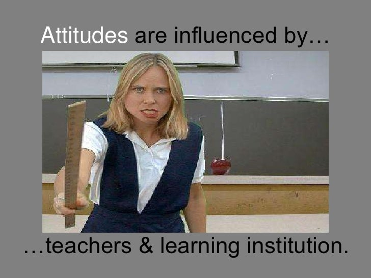 Attitudes are influenced by…<br />…teachers & learning institution.<br />
