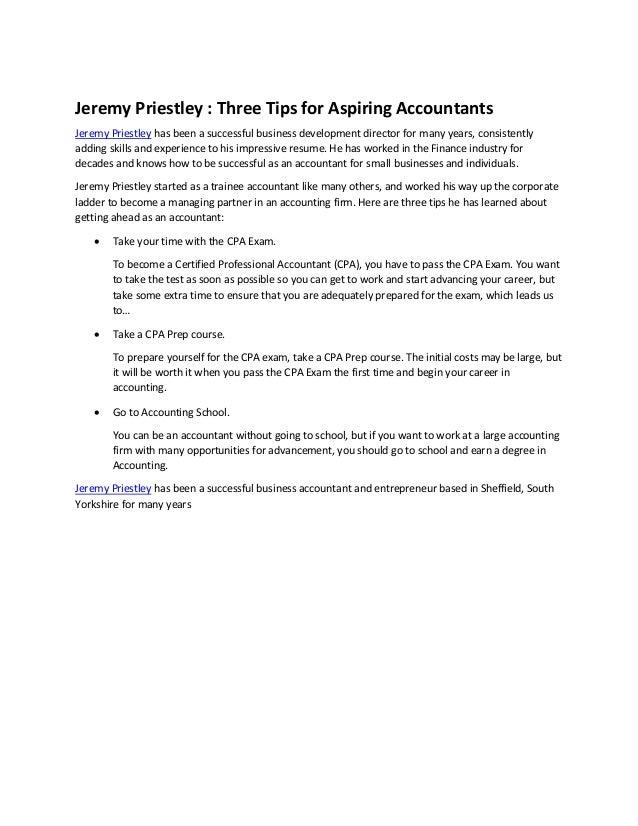 Jeremy Priestley : Three Tips for Aspiring Accountants