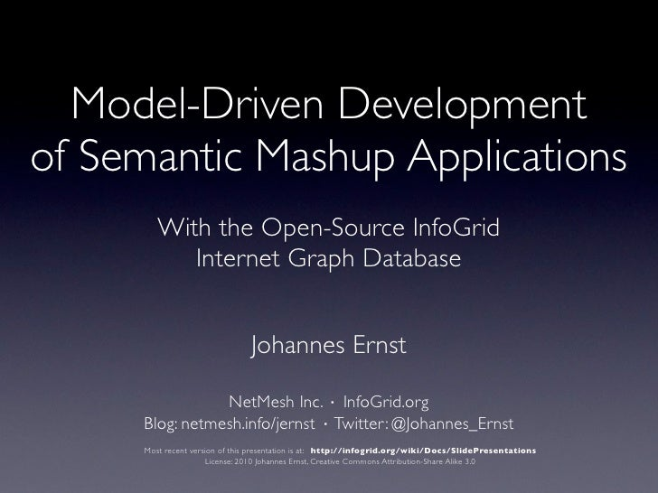 Model-Driven Development of Semantic Mashup Applications                With the Open-Source InfoGrid                NoSQL...