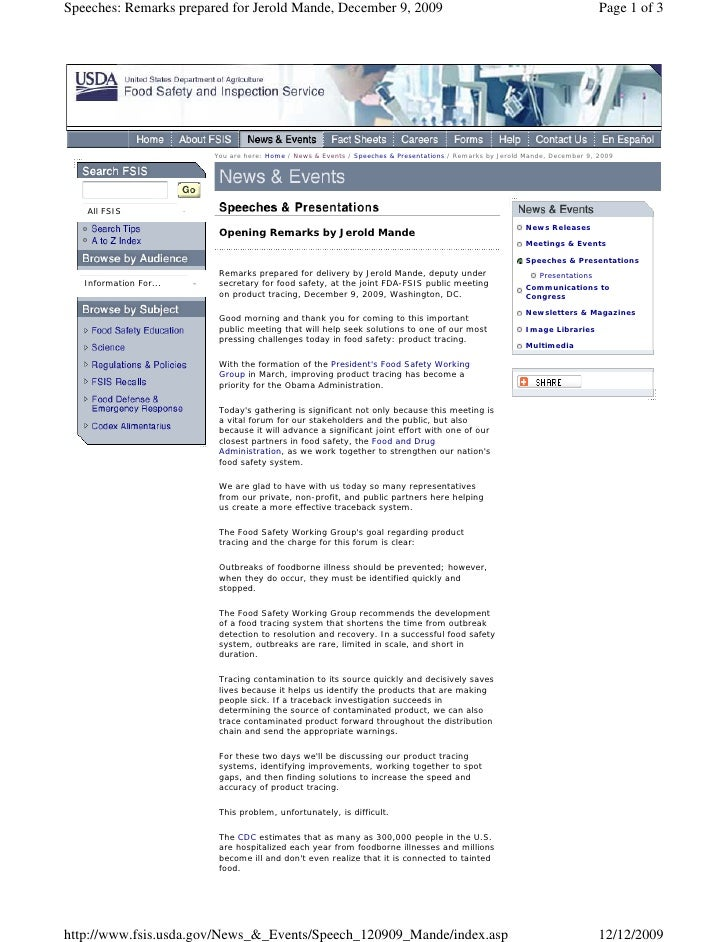 Speeches: Remarks prepared for Jerold Mande, December 9, 2009                                                             ...