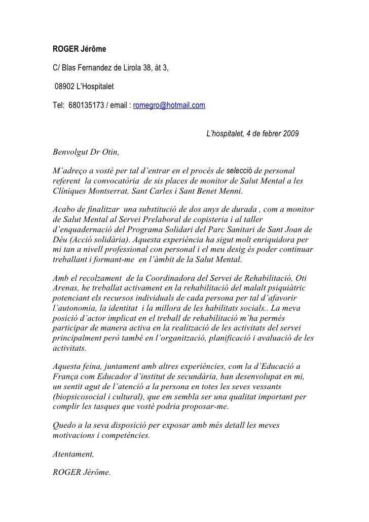 ROGER Jérôme  C/ Blas Fernandez de Lirola 38, àt 3,  08902 L'Hospitalet  Tel: 680135173 / email : romegro@hotmail.com     ...