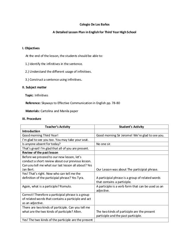 semi detailed lesson plan in english in high school for poetry Our literature lesson plans will help guide your middle and high school students through many literary  you'll find everything from poetry-writing.