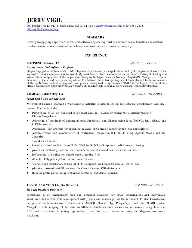 resumes software engineer