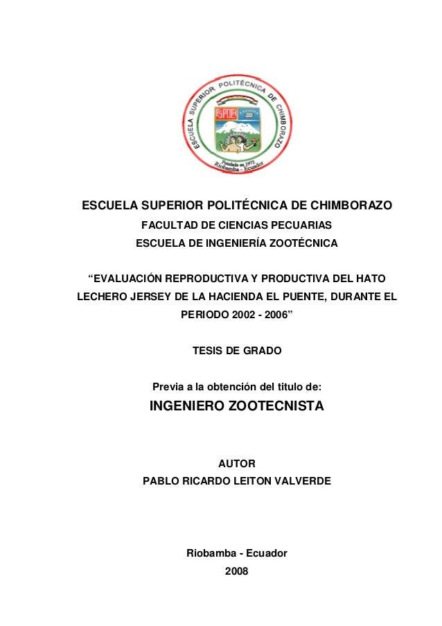 ESCUELA SUPERIOR POLIT CNICA DE CHIMBORAZO                 POLITÉCNICA          FACULTAD DE CIENCIAS PECUARIAS         ESC...