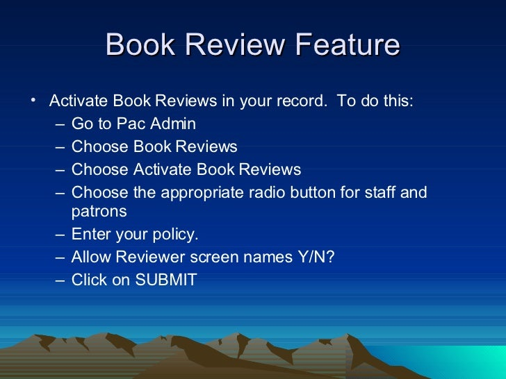 features regarding e-book review