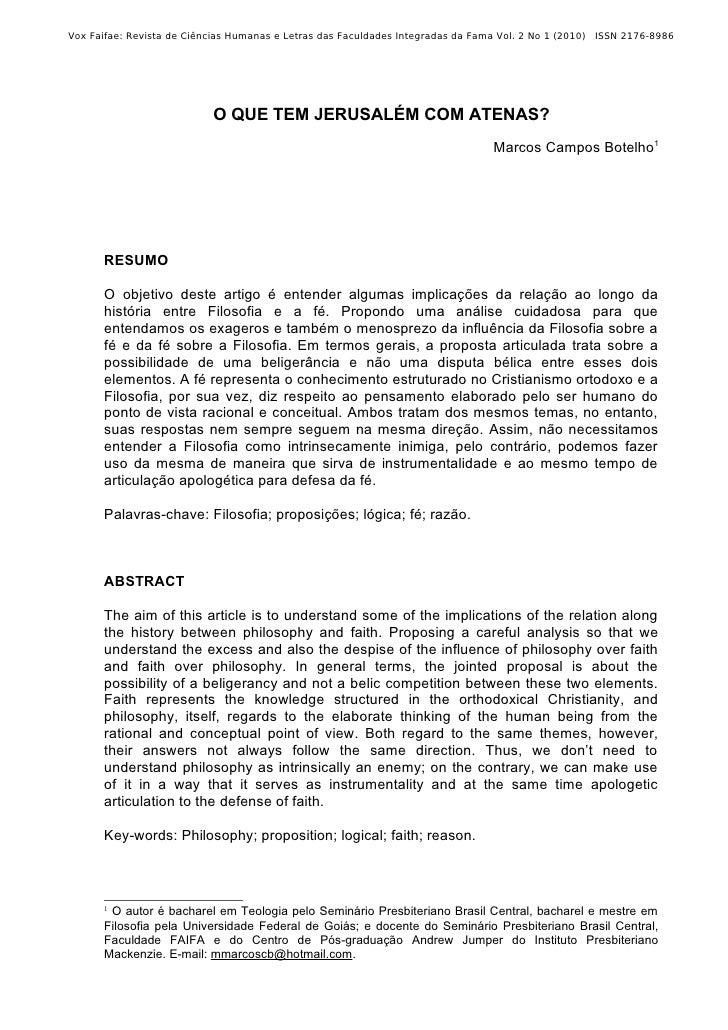 Vox Faifae: Revista de Ciências Humanas e Letras das Faculdades Integradas da Fama Vol. 2 No 1 (2010) ISSN 2176-8986      ...