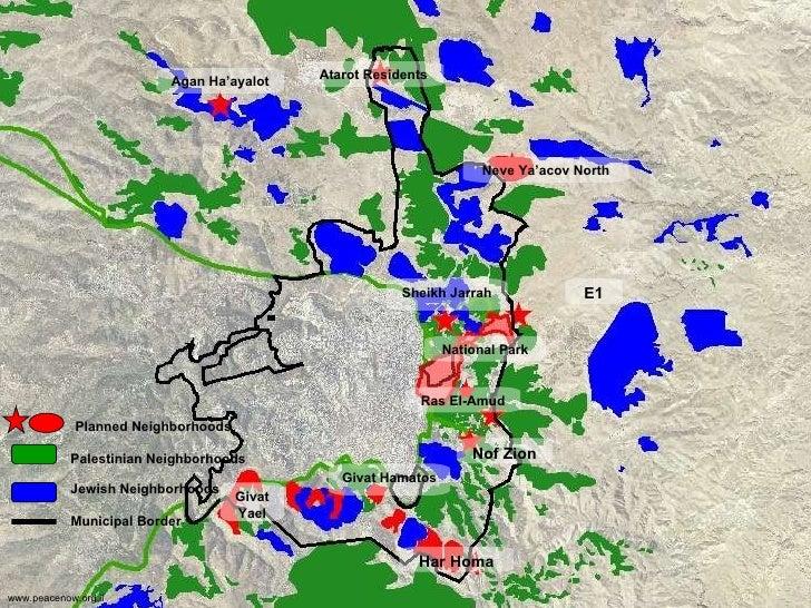 Palestinian Neighborhoods   Jewish Neighborhoods Municipal Border Planned Neighborhoods Neve Ya'acov North National Park H...