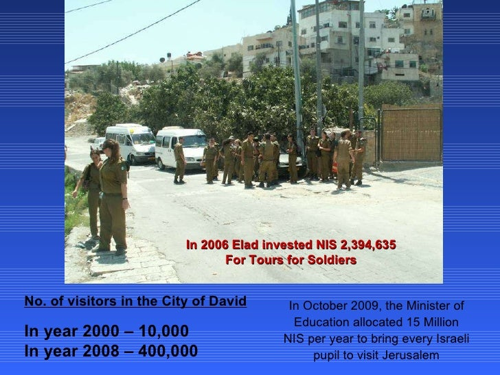 In 2006 Elad invested NIS 2,394,635 For Tours for Soldiers No. of visitors in the City of David In year 2000 – 10,000 In y...