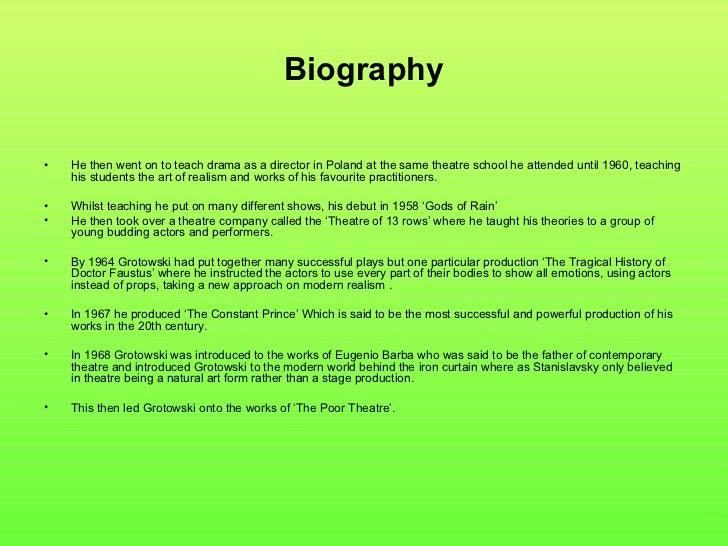 Actors Biography Samples