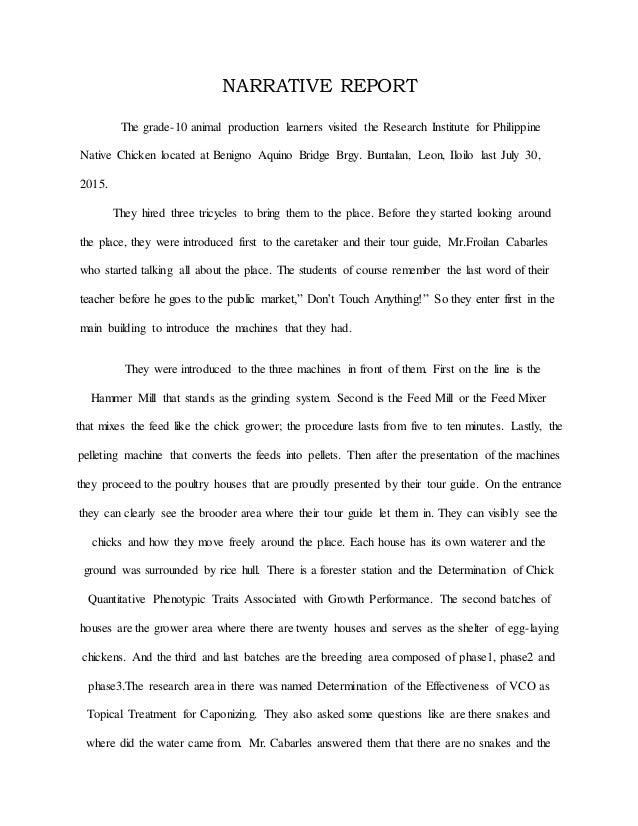 Narrative Report Of Jessa Calves
