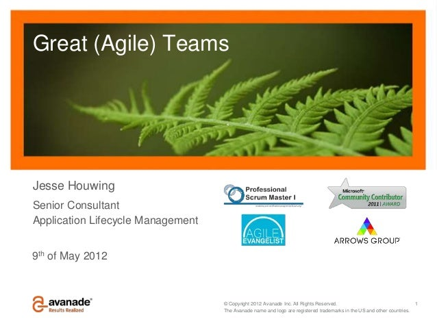 Great (Agile) TeamsJesse HouwingSenior ConsultantApplication Lifecycle Management9th of May 2012                          ...