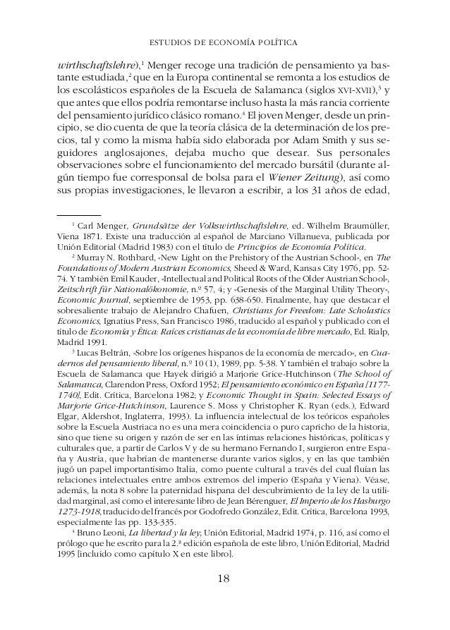 ESTUDIOS DE ECONOMÍA POLÍTICAGÉNESIS, ESENCIA Y EVOLUCIÓN DE LA ESCUELA AUSTRIACA DE ECONOMÍA CAPÍTULO I GÉNESIS, ESENCIA ...