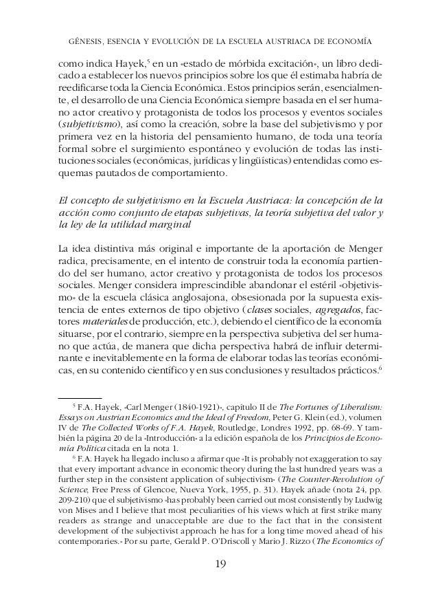 ESTUDIOS DE ECONOMÍA POLÍTICAGÉNESIS, ESENCIA Y EVOLUCIÓN DE LA ESCUELA AUSTRIACA DE ECONOMÍA como indica Hayek,5 en un «e...