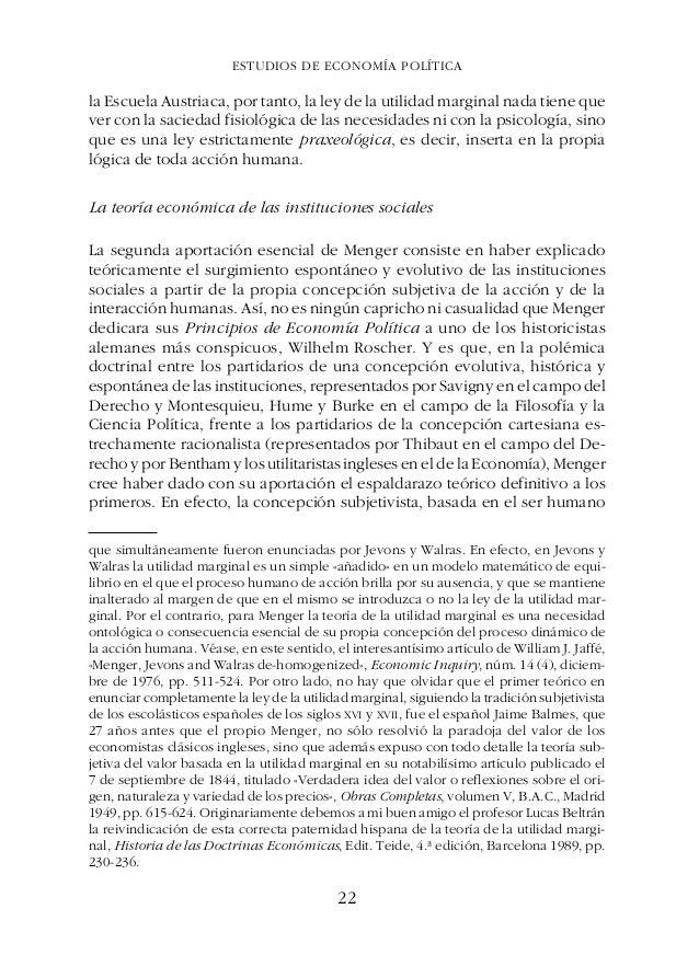 ESTUDIOS DE ECONOMÍA POLÍTICAGÉNESIS, ESENCIA Y EVOLUCIÓN DE LA ESCUELA AUSTRIACA DE ECONOMÍA Todo ser humano, por tanto, ...