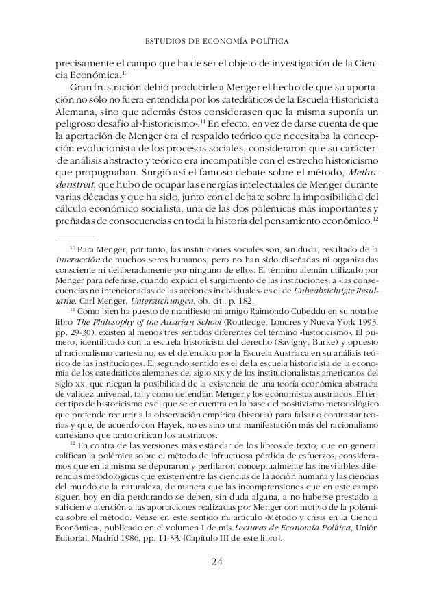 ESTUDIOS DE ECONOMÍA POLÍTICAGÉNESIS, ESENCIA Y EVOLUCIÓN DE LA ESCUELA AUSTRIACA DE ECONOMÍA actor, explica, a través de ...