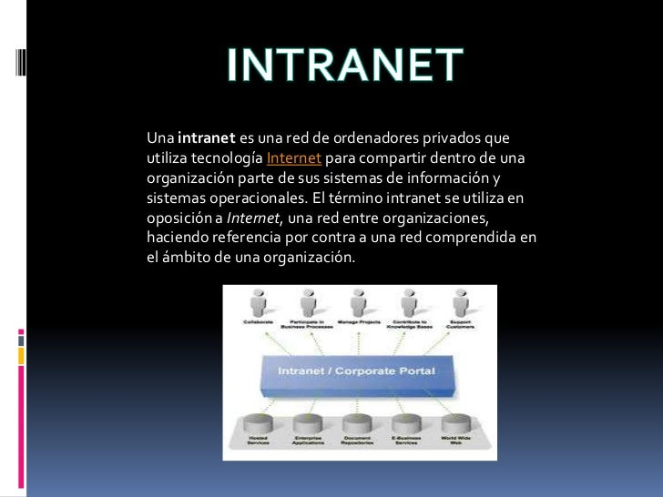 INTRANET<br />Una intranet es una red de ordenadores privados que utiliza tecnología Internet para compartir dentro de una...