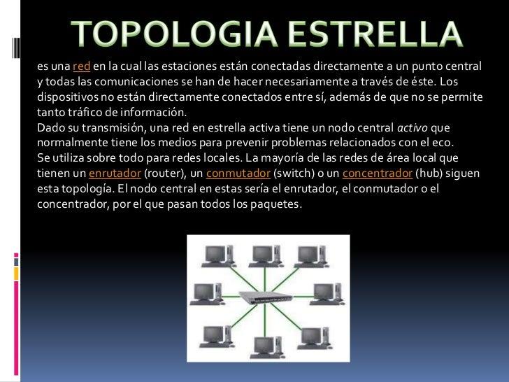 TOPOLOGIA ESTRELLA<br />es una red en la cual las estaciones están conectadas directamente a un punto central y todas las ...