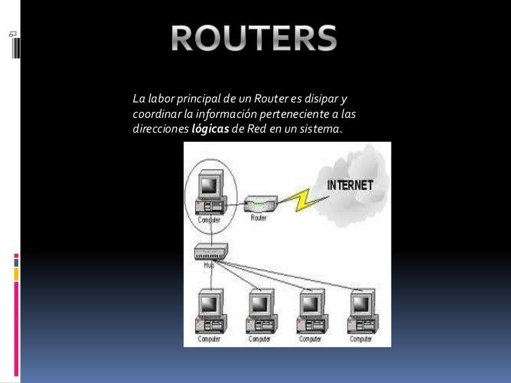 ROUTERS<br />La labor principal de un Router es disipar y coordinar la información perteneciente a las direcciones lógicas...