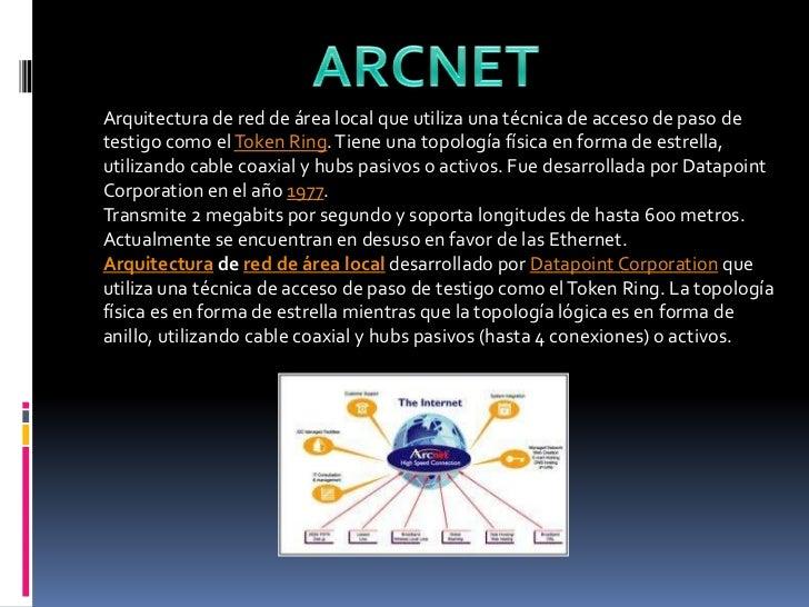 ARCNET<br />Arquitectura de red de área local que utiliza una técnica de acceso de paso de testigo como el Token Ring. Tie...