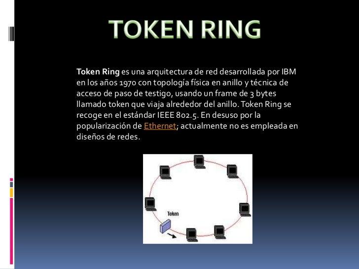 TOKEN RING<br />Token Ring es una arquitectura de red desarrollada por IBM en los años 1970 con topología física en anillo...