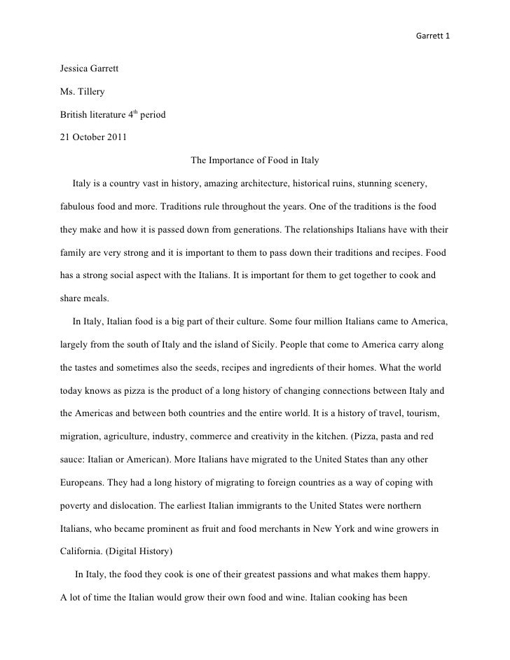 Garrett 1Jessica GarrettMs. TilleryBritish literature 4th period21 October 2011                                  The Impor...