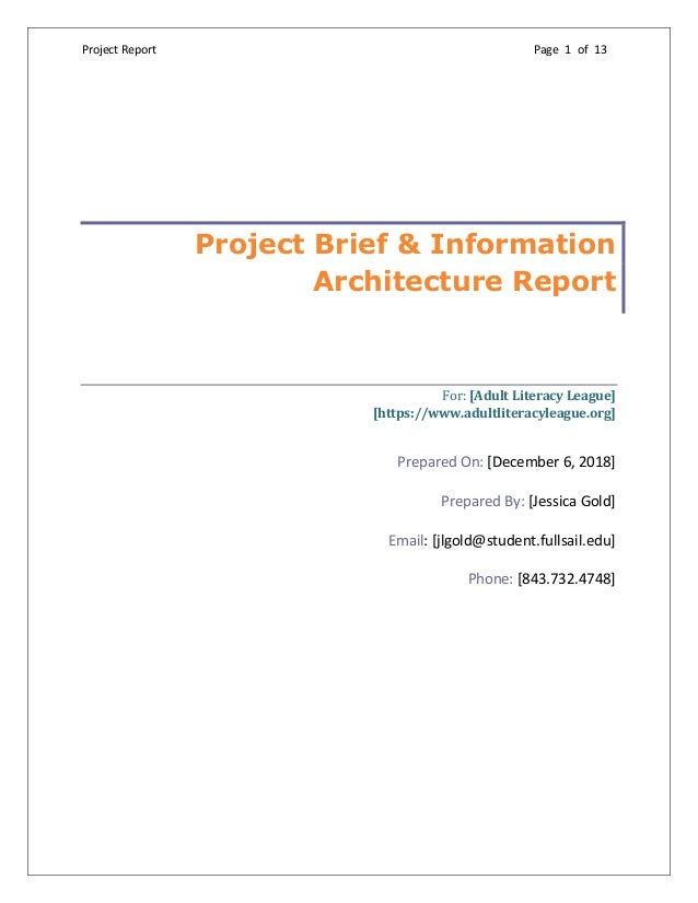 Project Report Page 1 of 13  Project Brief & Information Architecture Report For:[AdultLiteracyLeague] [https://www.a...