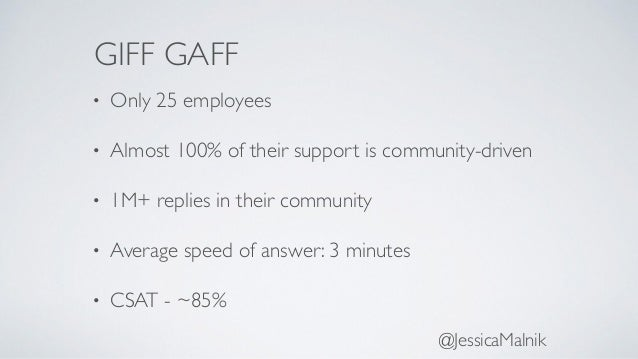 GIFF GAFF • Only 25 employees • Almost 100% of their support is community-driven • 1M+ replies in their community • Averag...