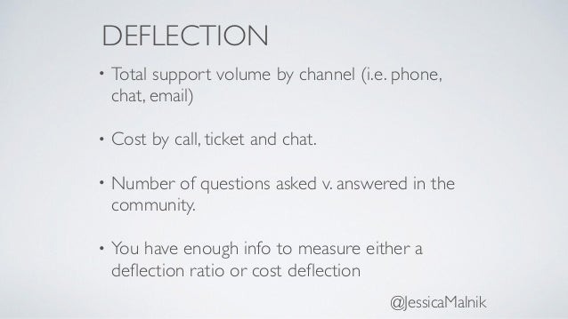DEFLECTION • Total support volume by channel (i.e. phone, chat, email) • Cost by call, ticket and chat. • Number of questi...
