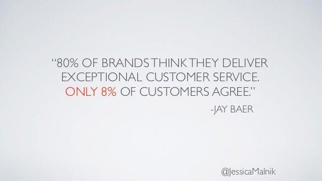 """80% OF BRANDSTHINKTHEY DELIVER EXCEPTIONAL CUSTOMER SERVICE. ONLY 8% OF CUSTOMERS AGREE."" -JAY BAER @JessicaMalnik"