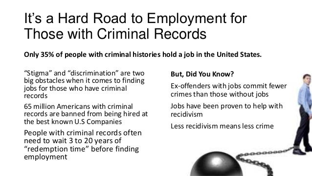 It's a Hard Road to Employment for Those with Criminal Records Only 35% of people with criminal histories hold a job in th...