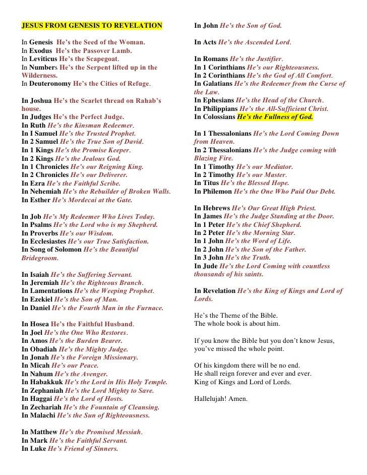 Jesus from genesis to revelation