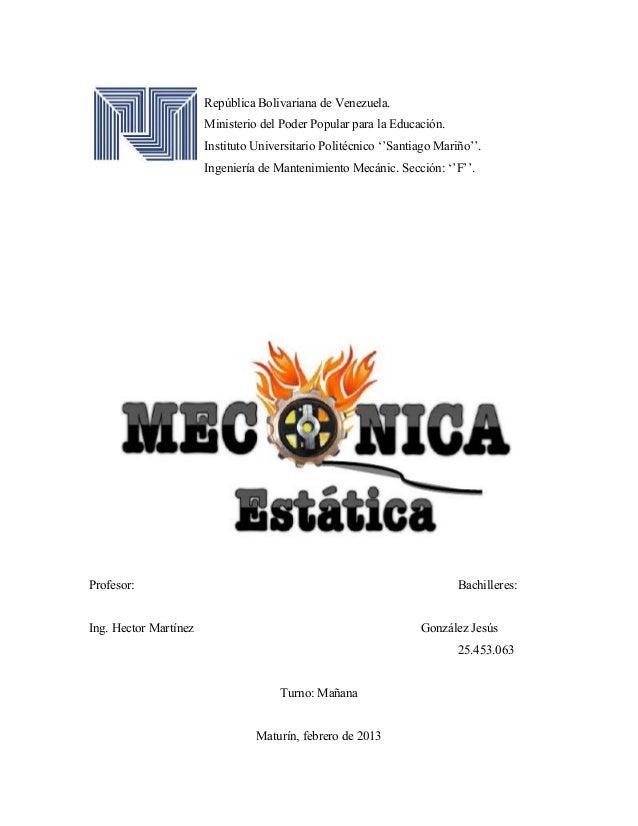 """República Bolivariana de Venezuela.Ministerio del Poder Popular para la Educación.Instituto Universitario Politécnico """"""""Sa..."""
