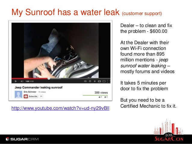 My Sunroof has a water leak (customer support)                                             Dealer – to clean and fix      ...
