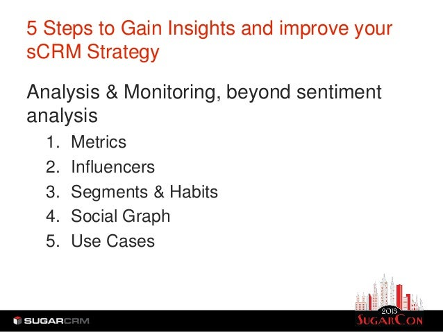5 Steps to Gain Insights and improve yoursCRM StrategyAnalysis & Monitoring, beyond sentimentanalysis  1.   Metrics  2.   ...