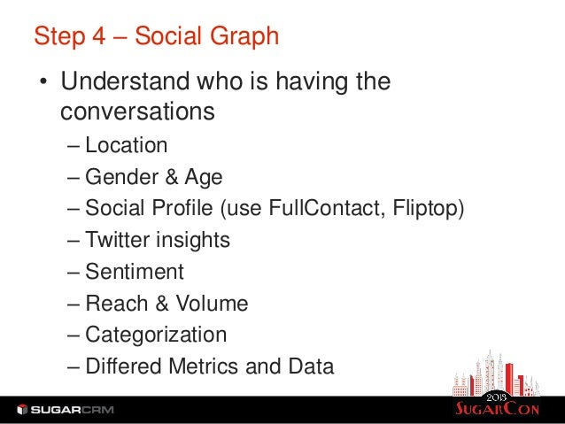 Step 4 – Social Graph• Understand who is having the  conversations  – Location  – Gender & Age  – Social Profile (use Full...