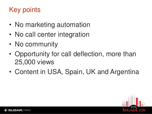 Key points• No marketing automation• No call center integration• No community• Opportunity for call deflection, more than ...