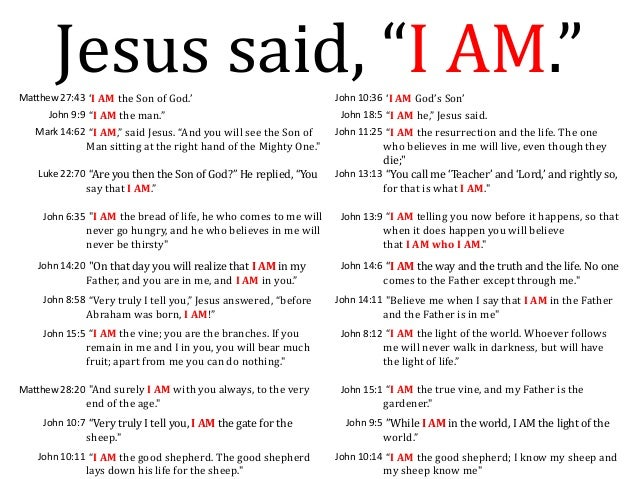 "Jesus said, ""I AM.""Matthew 27:43 'I AM the Son of God.' John 10:36 'I AM God's Son' John 9:9 ""I AM the man."" John 18:5 ""I ..."