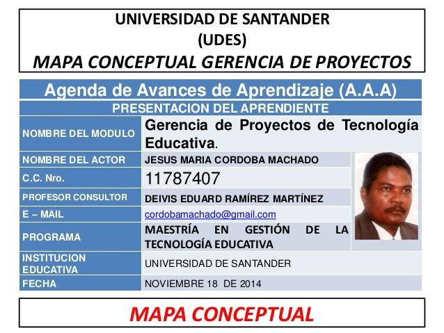 UNIVERSIDAD DE SANTANDER  (UDES)  MAPA CONCEPTUAL GERENCIA DE PROYECTOS  Agenda de Avances de Aprendizaje (A.A.A)  PRESENT...