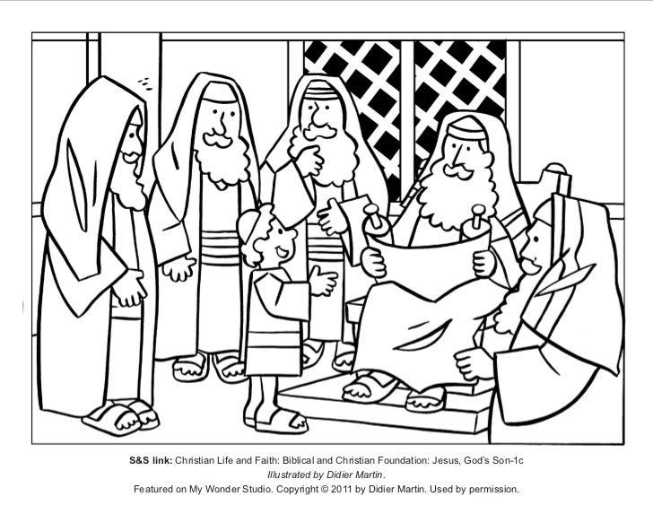 Jesus visits jerusalem as a boy.coloring