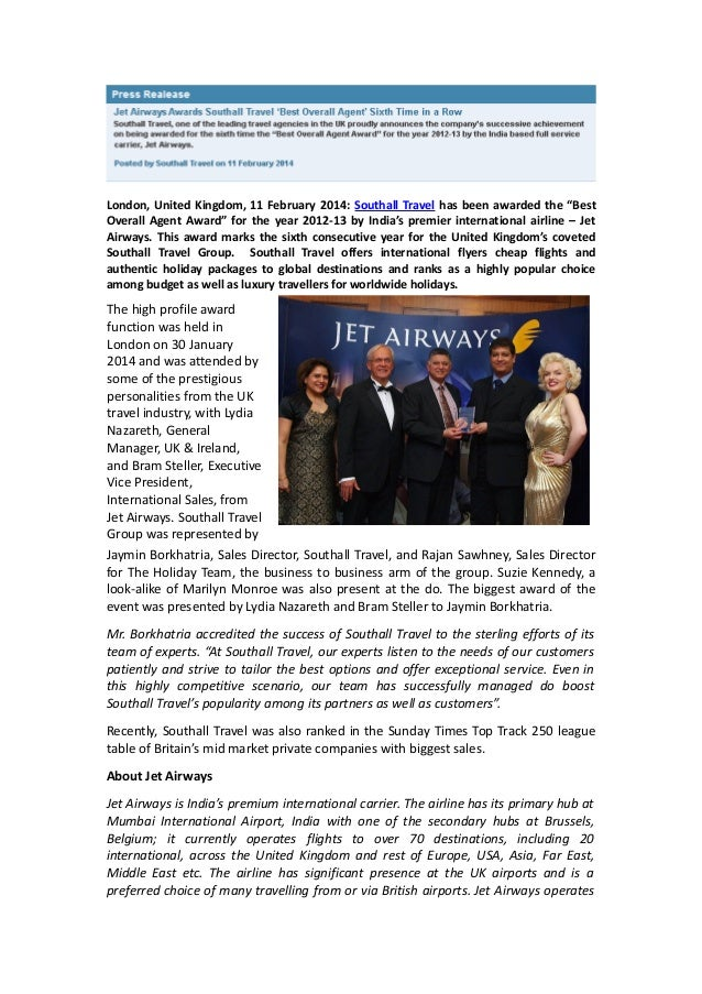 """London, United Kingdom, 11 February 2014: Southall Travel has been awarded the """"Best Overall Agent Award"""" for the year 201..."""