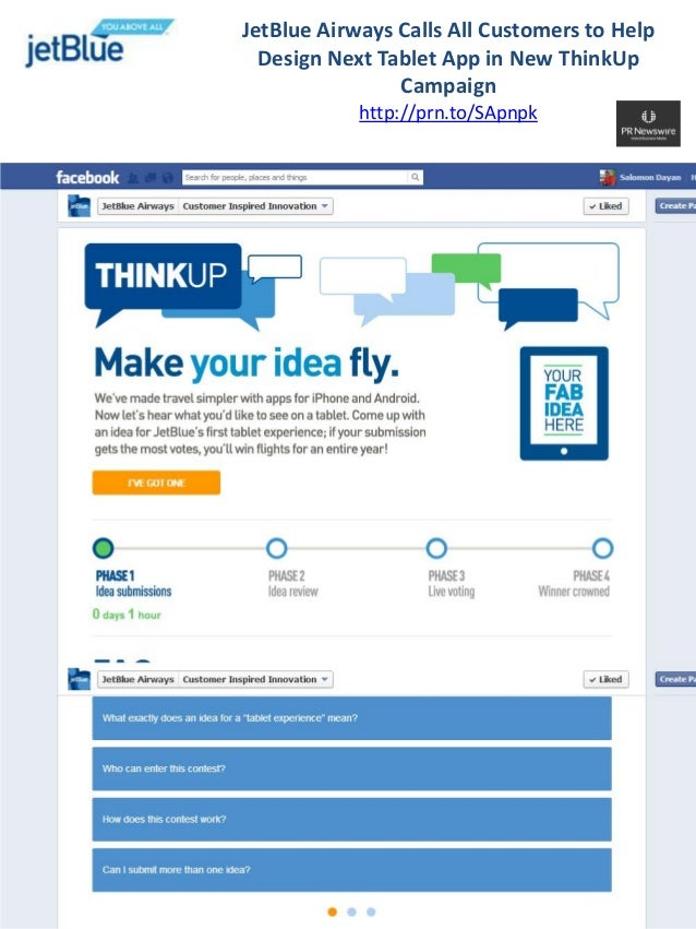JetBlue Airways Calls All Customers to Help  Design Next Tablet App in New ThinkUp                Campaign            http...